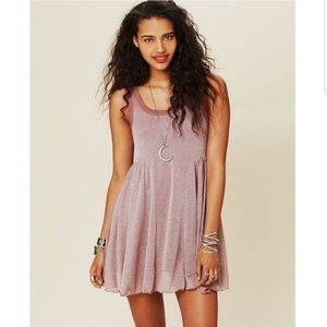 Free people beach rose gold metallic shine dress